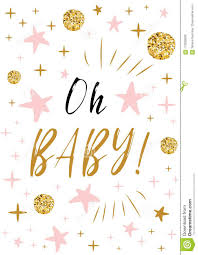 Stars Invitation Template Oh Baby Text With Gold Balls And Pink Star For Girl Baby
