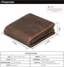 rfid blocking men wallets vintage cow genuine leather wallet brown 11 3 9 7 3 0