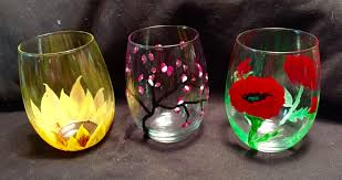 paint craze spring themed wine glass painting chicago sam s paintcraze