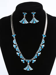 fan shaped faux diamond inlaid pendant necklace and drop earrings blue hosta