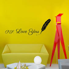 Wall Writing Decor Writing Ps Love You Feather Wall Sticker Design Vinyl Removable