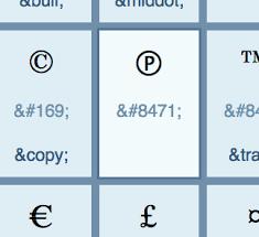 Html Symbols Chart Html Character Chart Update Sound Recording Copyright