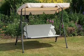 uk g cream garden swing seat hammock metal frame weatherproof textoline seat adjule canopy