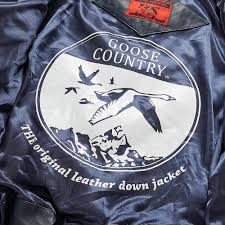 goose country leather v er jacket red white blue with white fox fur