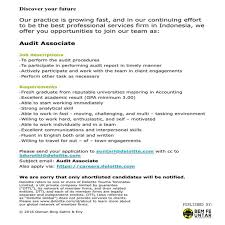 Audit Associate Job Description