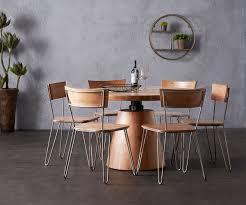 Esstisch Romiro 120x120 Akazie Natur Rund Höhenverstellbar Möbel