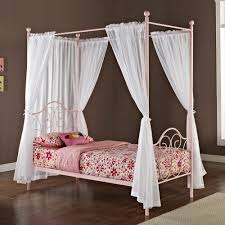 Pink Metal Twin-size Canopy Bed with Curtains | Overstock.com ...
