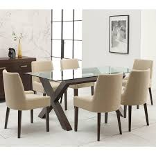 bentley designs lyon walnut glass top dining table 6 natural fabric chairs