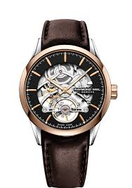 raymond weil 2785 sc5 20001 freelancer brown leather skeleton automatic watch for men