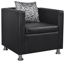 vidaXL <b>Cube</b> Armchair <b>Black Artificial Leather</b> Waiting Reception ...
