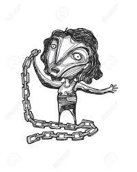 手描きイラストや金属の鎖を持つ女性の図面