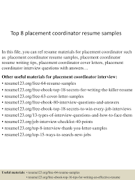 Education Coordinator Resumes Top 8 Placement Coordinator Resume Samples