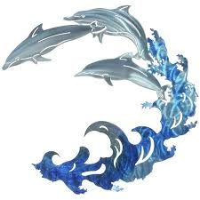 large metal dolphin wall art