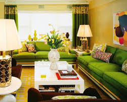 Green Sofa And White Coffee Table For Elegant Living Room Ideas