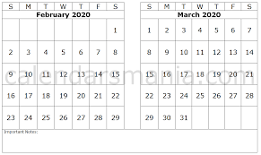 Month Of March Calendar 2020 February March 2020 Calendar