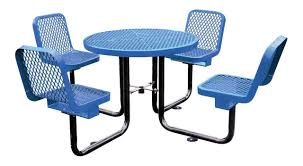 thermoplastic picnic table with back blue