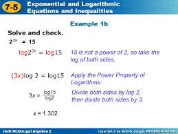 holt mcdougal algebra exponential and logarithmic equations geous solving exponential equations with logarithms worksheet
