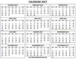 2017 Calendar Printable 12 Months Calendar On One Page