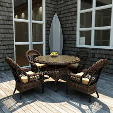 forever patio leona 4 person resin wicker patio dining set with 42 inch glass top table mocha ultimate patio