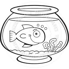 Small Picture Cartoon Fish in a Fish Bowl Black and White Line Art by