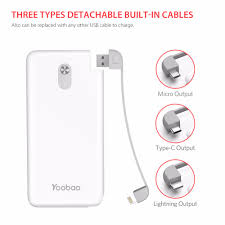 Pin Sạc Dự Phòng Yoobao S10K 10000 MAh Tích Hợp Cáp Điện Ngân Hàng Dual USB  Đầu Vào Bên Ngoài Pin Siêu Mỏng Di Động Sạc Cho Điện Thoại Di Động Power  Bank