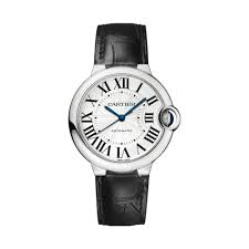 cartier ballon bleu automatic silver dial stainless steel black leather las watch w69017z4 available at diamond source nyc