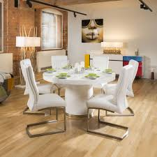 modern 1400mm round white gloss dining table 6 white padded chairs