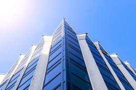 high tech modern architecture buildings. Details Of Office Building Exterior. Business Buildings Skyline Looking Up  With Blue Sky. Modern High Tech Modern Architecture