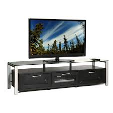 plateau decor  inch tv stand in blackclear and silver  tv