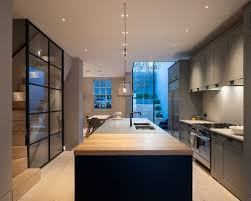 basement kitchen designs. Example Of A Transitional Galley Light Wood Floor Eat-in Kitchen Design In London With Basement Designs