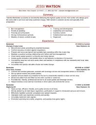 Bartender Job Description Resume Resume Online Builder