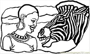 Small Picture African Lady And Zebra Coloring Page Free Africa Coloring Pages