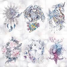 ловец снов луна лотос цветок временная татуировка наклейка пион змея
