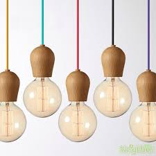 details about colorful hanging wire e27 wood lamp holder pendant lamp diy lamps ceiling light