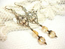 staggering antique gold earrings champagne crystal bridal earrings wedding champagne chandelier earrings