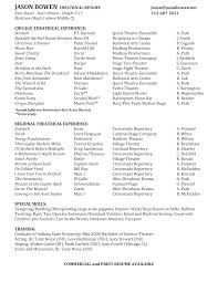 Free Community Theatre Resume Templates At Resume Template 4167