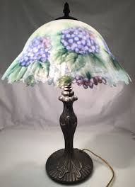 glynda turley reverse hand painted tiffany style shade lamp flowers signed