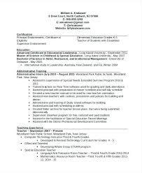Principal Resume Samples Elementary Principal Resume Elementary