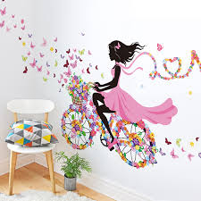 shijuehezi girl wall stickers multi color bicycle wall art for living room kids room baby bedroom decoration wall decal in wall stickers from home  on diy little girl wall art with shijuehezi girl wall stickers multi color bicycle wall art for