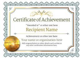 Free Online Printable Certificates Of Achievement Certificate Of Achievement Customize 101 Achievement Certificate