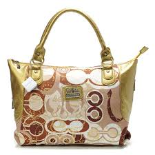 Color  Coach Poppy In Monogram Large Yellow Totes BYN Coach Logo Monogram  Large Coffee Totes DOF Coach Embossed ...