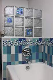 Vintage hoyne mirror wall tiles, 12x12 glass, mod era glas tile, cool,groovy,mcm. Wave Patterned Glass Block Partition Wall With Decorative Glass Tile Blocks And Modern Bathroom San Francisco By Innovate Building Solutions Houzz