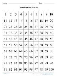 Free large printable numbers 1 100 | Download them and try to solve