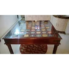 Dining table glass top ceramic tiles