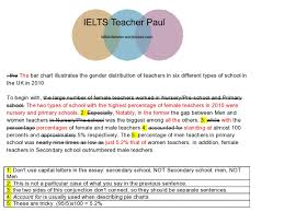 ielts writing task bar chart percentage of male and female  t1teachergenderpt1a
