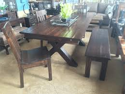 solid wood xbase dining table