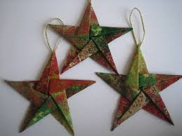 Paper Christmas Tree Ornaments Elegant Fabric Star Origami Christmas Tree Ornaments Set Of Three