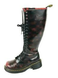 Details About Dr Martens Jemma 20 Eye Knee High Burgundy Boots Size Us 7 Uk 5 Eu 38
