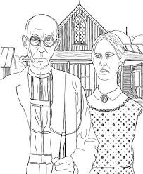 Small Picture American Gothic Coloring Page Grant Wood Batch Coloring