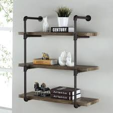 3 tier wall shelves b brown iron rustic industrial pipe shelf corner